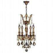 Versailles 5 light Antique Bronze Finish and Golden Teak Crystal Mini Chandelier