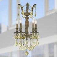 W83330B13-GT Versailles 5 light Antique Bronze Finish and Golden Teak Crystal Mini Chandelier