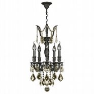 W83330F13-GT Versailles 5 light Flemish Brass Finish and Golden Teak Crystal Mini Chandelier