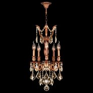 Versailles 5 light French Gold Finish with Golden Teak Crystal Chandelier
