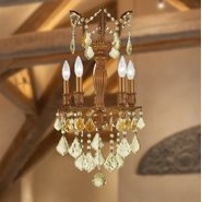 W83330FG13-GT Versailles 5 light French Gold Finish with Golden Teak Crystal Chandelier