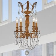 W83330FG13 Versailles 5 light French Gold Finish with Clear Crystal Chandelier