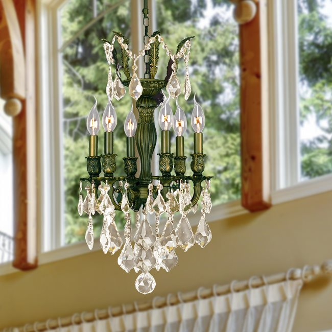 W83331B13-GT Versailles 6 Light Antique Bronze Finish and Golden Teak Crystal Chandelier