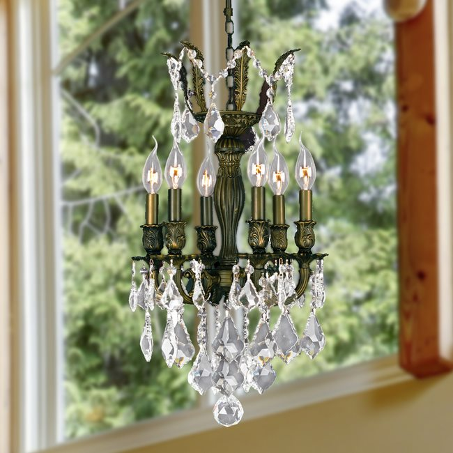 W83331B13 Versailles 6 Light Antique Bronze Finish and Clear Crystal Chandelier