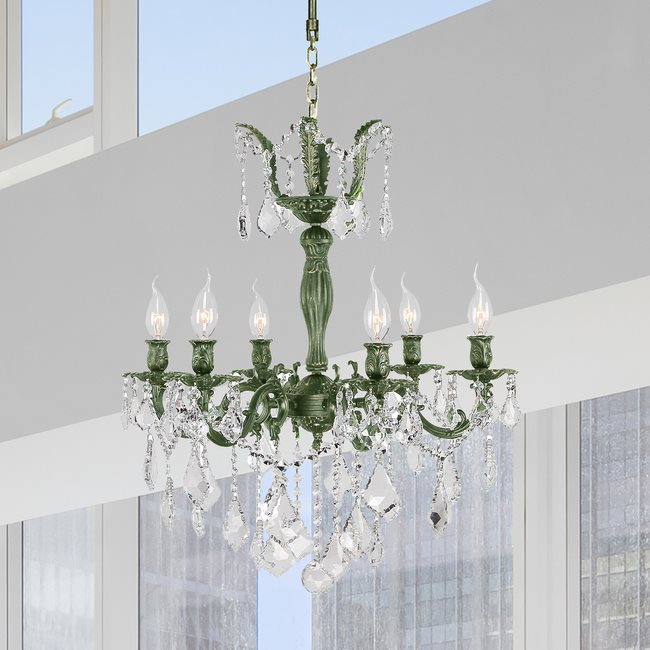 W83328B23 Versailles 6 Light Antique Bronze Finish with Clear Crystal Chandelier