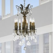 W83332B14 Versailles 8 Light Antique Bronze Finish with Clear Crystal Chandelier
