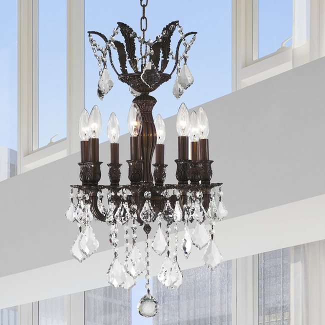 W83332F14 Versailles 8 Light Flemish Brass Finish with Clear Crystal Chandelier
