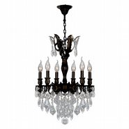 W83333F19 Versailles 6 Light Flemish Brass Finish and Clear Crystal Chandelier