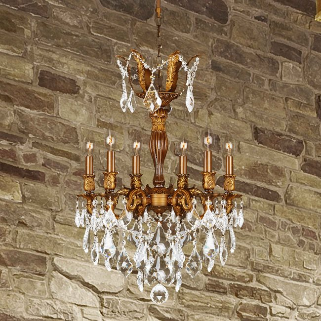W83333FG19 Versailles 6 light French Gold Finish and Clear Crystal Chandelier