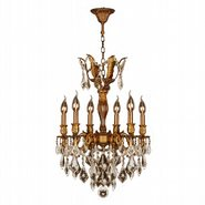 W83333FG19-GT Versailles 6 light French Gold Finish and Golden Teak Crystal Chandelier