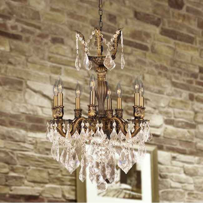 W83334B19-GT Versailles 8 Light Antique Bronze Finish with Golden Teak Crystal Chandelier