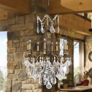 W83334B19 Versailles 8 Light Antique Bronze Finish with Clear Crystal Chandelier