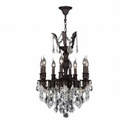 W83334F19 Versailles 8 Light Flemish Brass Finish and Clear Crystal Chandelier