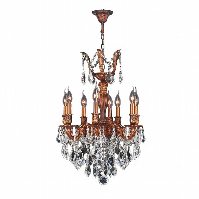 W83334FG19-CL Versailles 8 Light French Gold Finish and Clear Crystal Chandelier