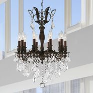 W83335F19 Versailles 10 Light Flemish Brass Finish with Clear Crystal Chandelier