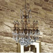 W83336B20 Versailles 12 Light Antique Bronze Finish and Clear Crystal Chandelier
