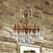 W83336FG20 Versailles 12 light French Gold Finish and Clear Crystal Chandelier