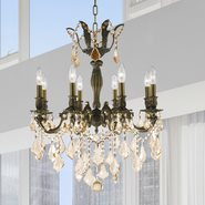 W83337B22-GT Versailles 8 light Antique Bronze Finish and Golden Teak Crystal Chandelier