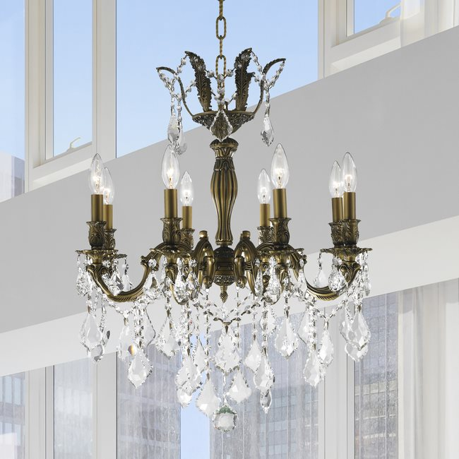 W83337B22 Versailles 8 light Antique Bronze Finish with Clear Crystal Chandelier