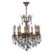 W83338B22 Versailles 10 Light Antique Bronze Finish with Clear Crystal Chandelier