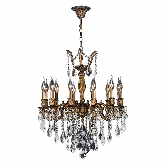 W83339B24 Versailles 12 Light Antique Bronze Finish and Clear Crystal Chandelier