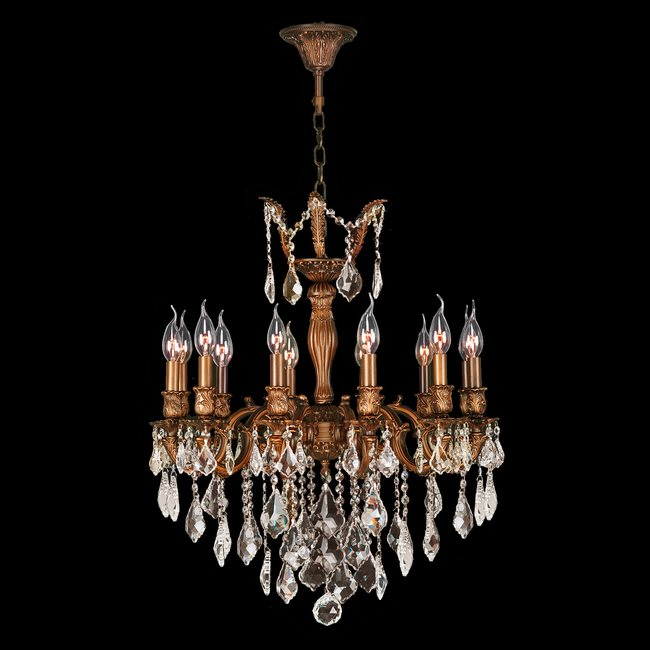 W83339FG24-GT Versailles 12 light French Gold Finish and Golden Teak Crystal Chandelier