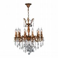 W83339FG24 Versailles 12 light French Gold Finish and Clear Crystal Chandelier