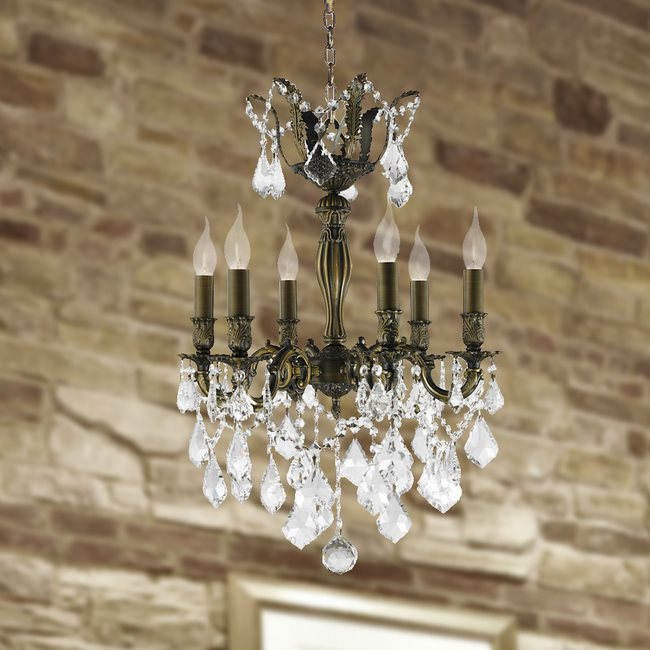 W83333B19 Versailles 6 light Antique Bronze Finish with Clear Crystal Chandelier