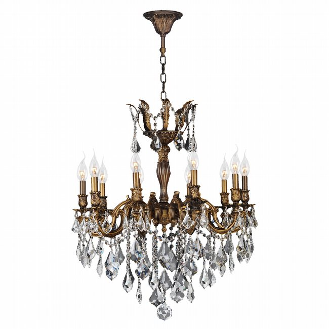 W83340B26 Versailles 10 Light Antique Bronze Finish and Clear Crystal  Chandelier - W83340B26 Versailles 10 Light Antique Bronze Finish And Clear