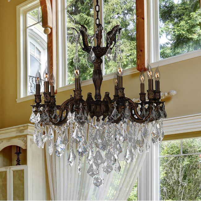 W83340F26 Versailles 10 Light Flemish Brass Finish and Clear Crystal Chandelier