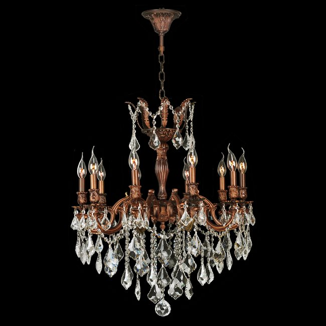 W83340FG26 Versailles 10 light French Gold Finish and Clear Crystal Chandelier