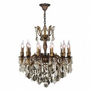 W83341B27-GT Versailles 12 light Antique Bronze Finish and Golden Teak Crystal Chandelier