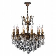 W83341B27 Versailles 12 light Antique Bronze Finish with Clear Crystal Chandelier