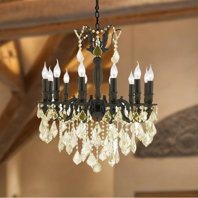 W83341F27-GT Versailles 12 light Flemish Brass Finish with Golden Teak Crystal Chandelier