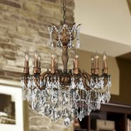 W83341FG27 Versailles 12 light French Gold Finish and Clear Crystal Chandelier