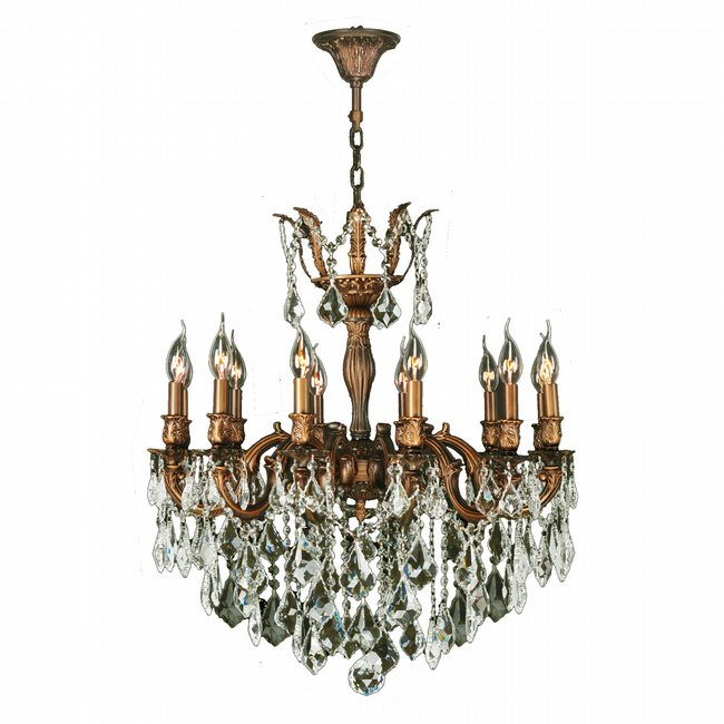 W83341FG27-GT Versailles 12 light French Gold Finish with Golden Teak Crystal Chandelier