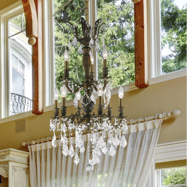 W83342B19 Versailles 9 light Antique Bronze Finish with Clear Crystal Chandelier
