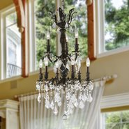 W83342F19 Versailles 9 Light Flemish Brass Finish with Clear Crystal Chandelier