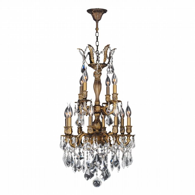 W83343B19 Versailles 12 Light Antique Bronze Finish with Clear Crystal Chandelier