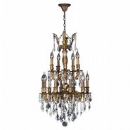 W83344B19 Versailles 15 Light Antique Bronze Finish and Clear Crystal Chandelier Two 2 Tier