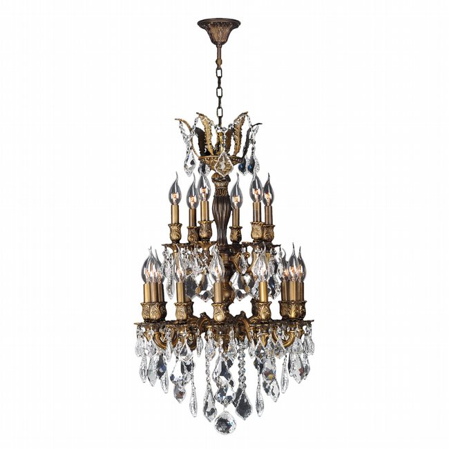 W83345B19 Versailles 18 Light Antique Bronze Finish and Clear Crystal Chandelier