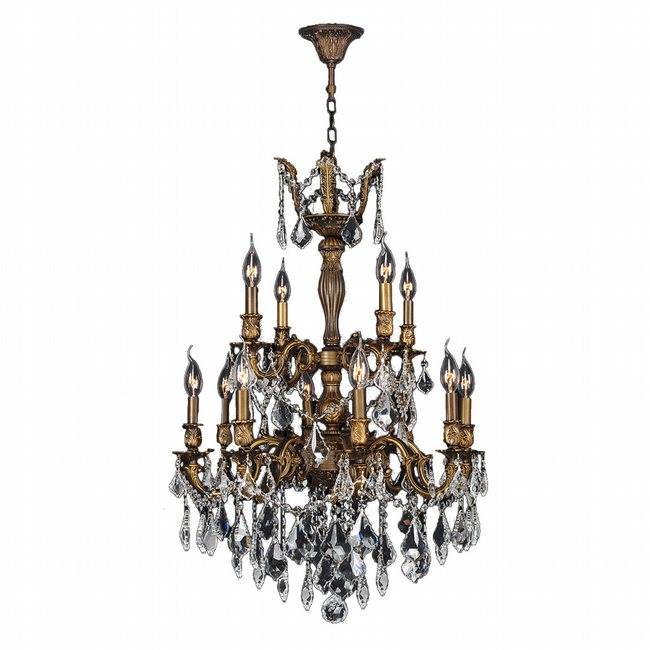 W83346B24 Versailles 12 light Antique Bronze Finish with Clear Crystal Chandelier