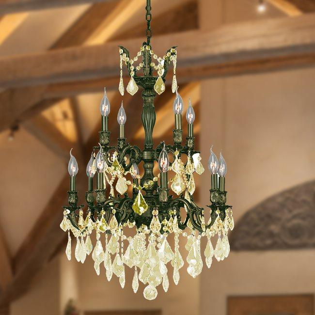 W83346B24-GT Versailles 12 light Antique Bronze Finish with Golden Teak Crystal Chandelier