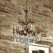 W83346FG24 Versailles 12 light French Gold Finish and Clear Crystal Chandelier Two 2 Tier