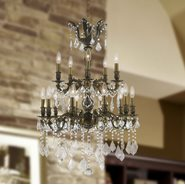 W83347B24 Versailles 15 Light Antique Bronze Finish with Clear Crystal Chandelier