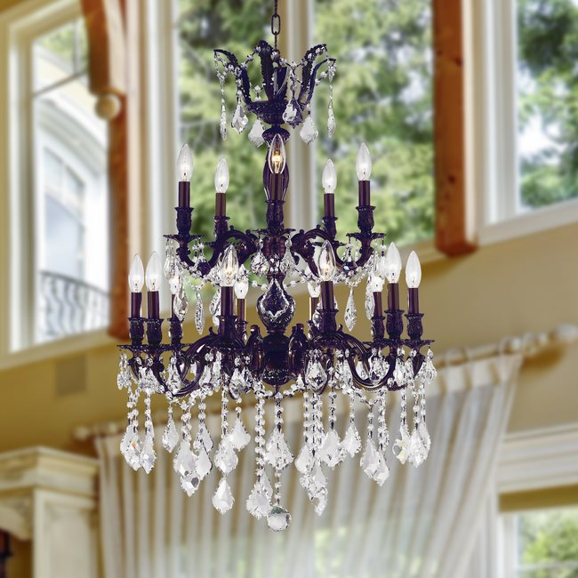 W83347F24 Versailles 15 Light Flemish Bronze Finish with Clear Crystal Chandelier