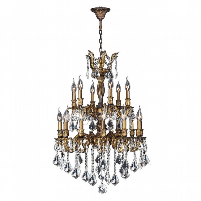 W83348B24 Versailles 18 light Antique Bronze Finish with Clear Crystal Chandelier