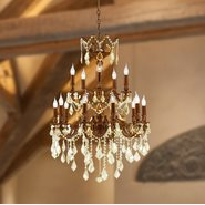 W83348FG24 Versailles 18 light French Gold Finish and Clear Crystal Chandelier Two 2 Tier