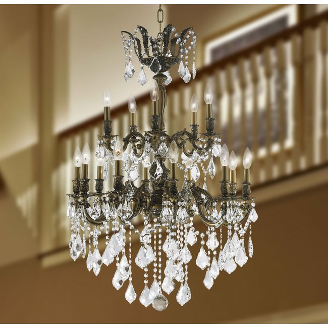 W83349B27 Versailles 15 Light Antique Bronze Finish and Clear Crystal Chandelier