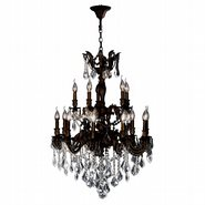 Versailles 15 Light Flemish Brass Finish and Clear Crystal Chandelier Two 2 Tier